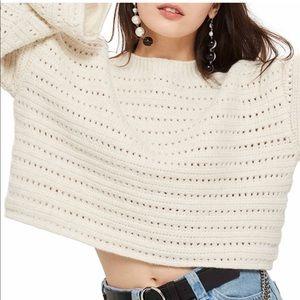 NWT Topshop Wide Sleeve Crop Beige Sweater size M